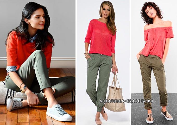 с чем носить джинсы хаки девушкам и женщинам