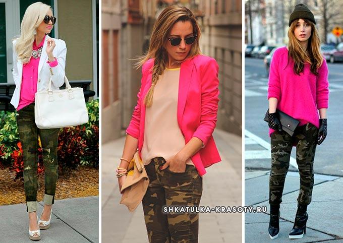 ярко розовый верх и женские брюки или джинсы цвета хаки