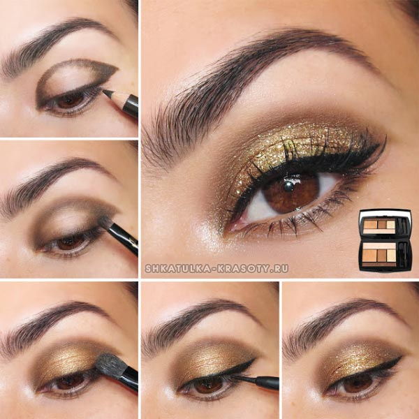 макияж золотыми тенями