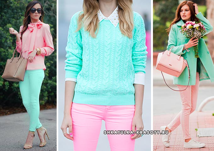 мятный цвет в одежде в сочетании с розовым