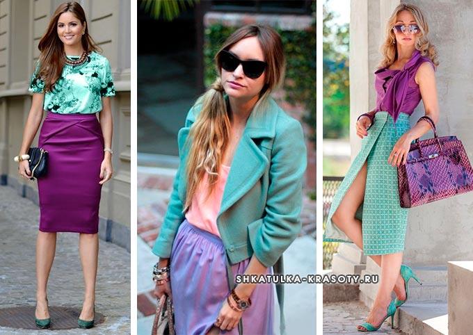 сочетание мятного и сиреневого цвета в одежде