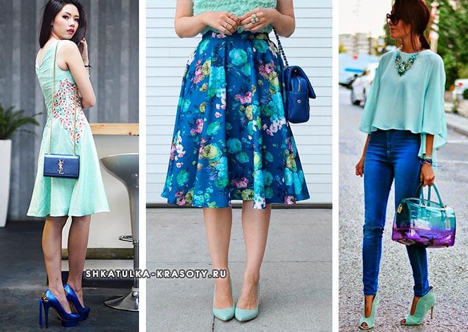 мятный с синим цветов в одежде