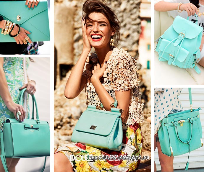 с чем носить сумку или рюкзак мятного цвета