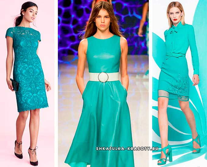 бирюзовое платье с чем носить и сочетать