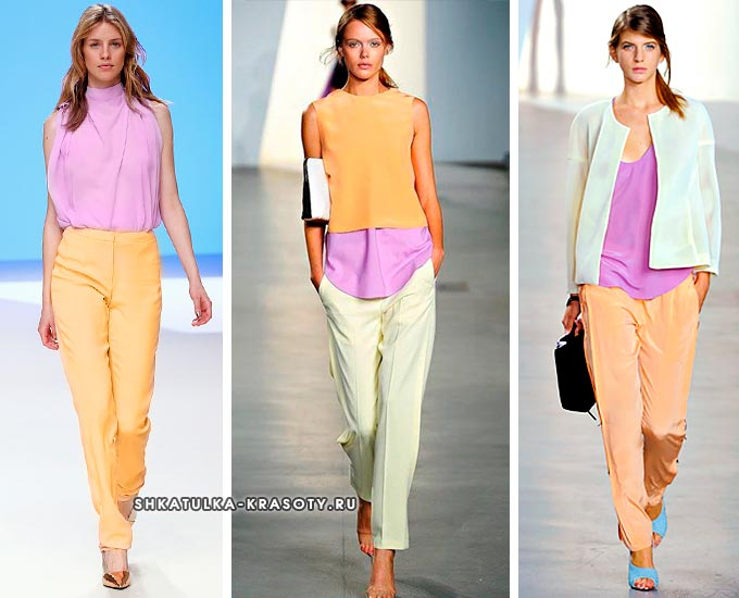 сочетание сиреневого цвета с оранжевым в одежде