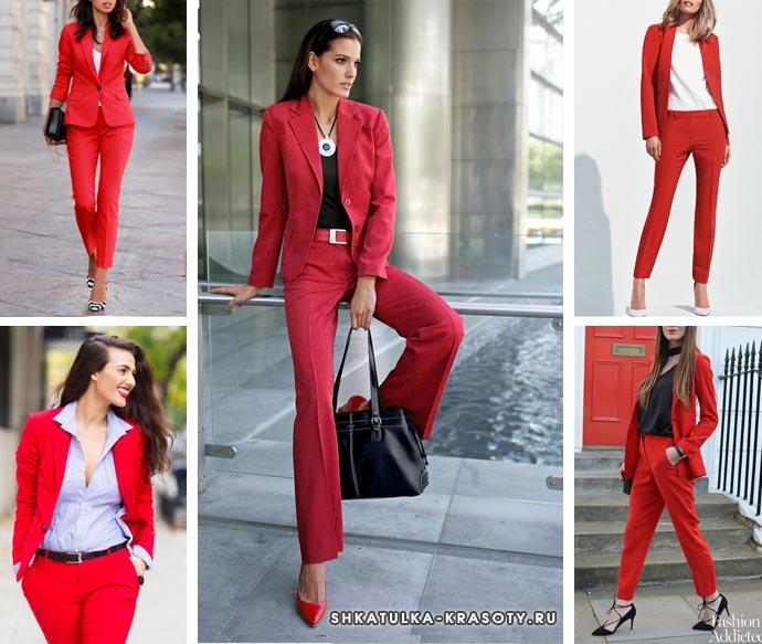 красный костюм для девушек и женщин