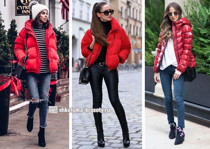 красный пуховик, куртка