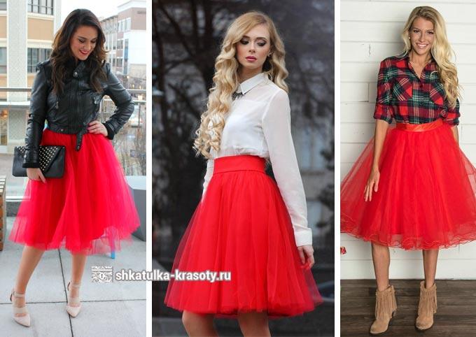юбка-пачка из фатина красного цвета