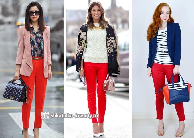 образы с красными брюками для девушек и женщин