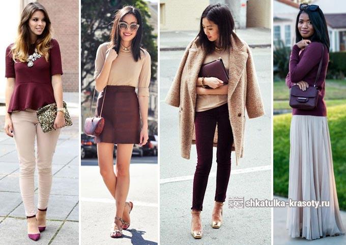 красивые образы с вишневой одеждой