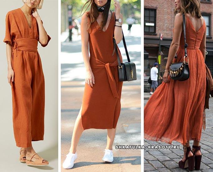 красно-коричневые легкие платья для лета