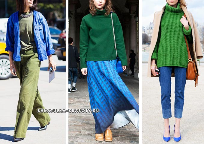 аутфиты с васильковым и зеленым в одежде