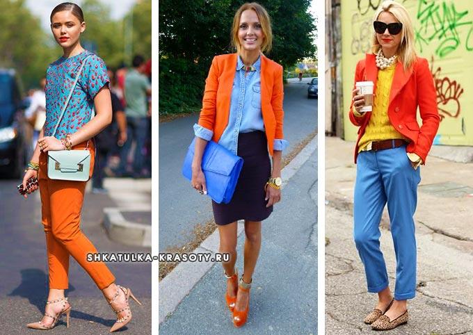васильковый и оранжевый сочетание в одежде для девушек и женщин