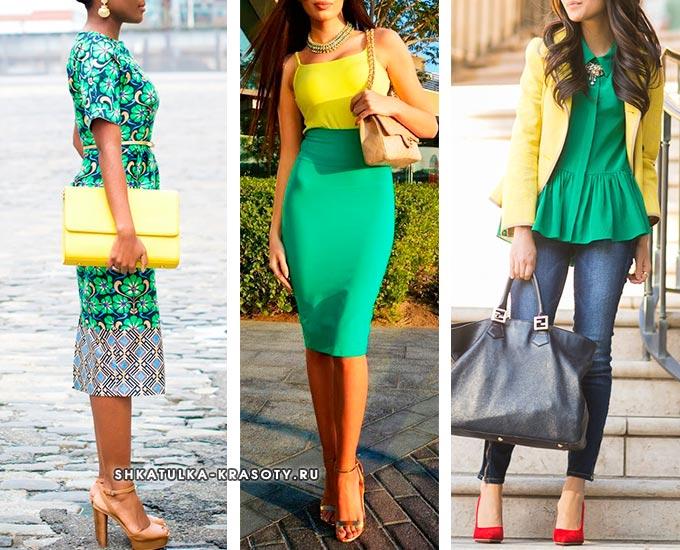 сочетание палевого и зеленого в одежде