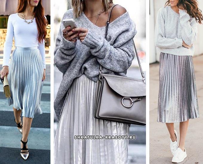 блестящая плиссированная юбка