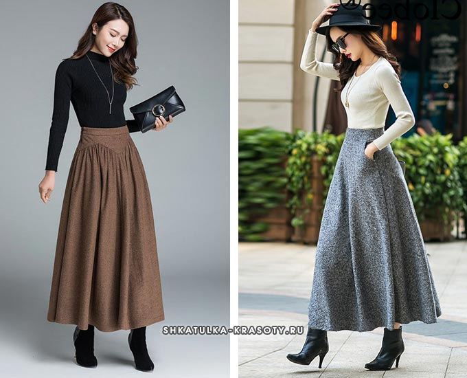 коричневая, серая юбка из драпа