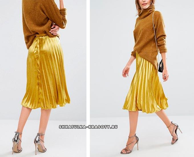 золотистая, желтая атласная юбка плиссе