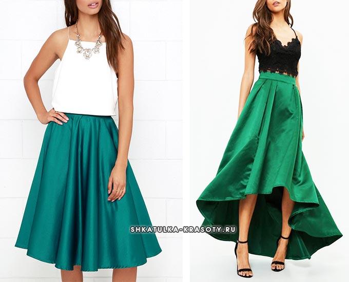 зеленая, бирюзовая атласная юбка