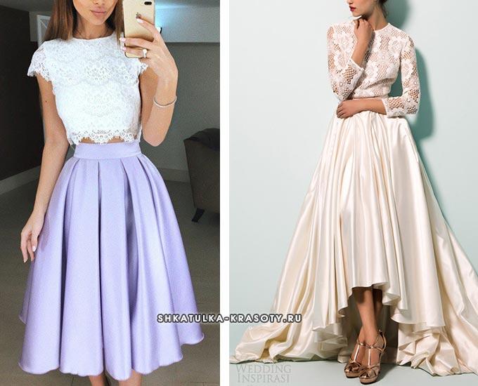 атласная юбка с кружевным верхом