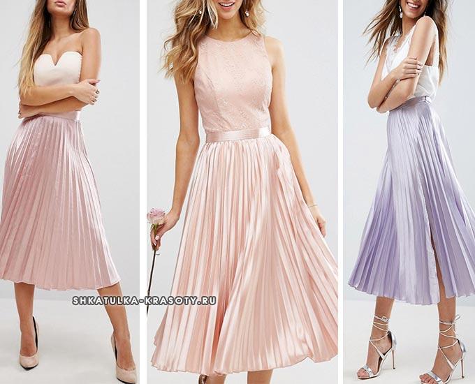 атласная юбка плиссе