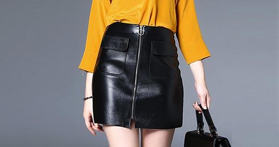 как носить юбку из экокожи