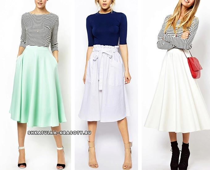 средняя юбка с завышенной талией
