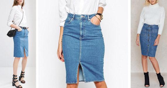 темно синяя джинсовая юбка карандаш с белой майкой