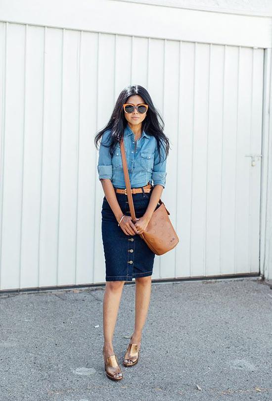 с джинсовой рубашкой