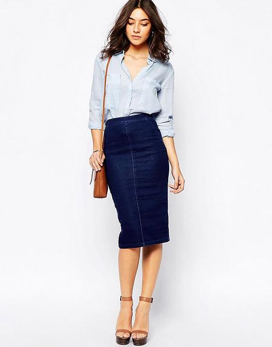 джинсовая юбка средней длины миди с блузкой и туфлями