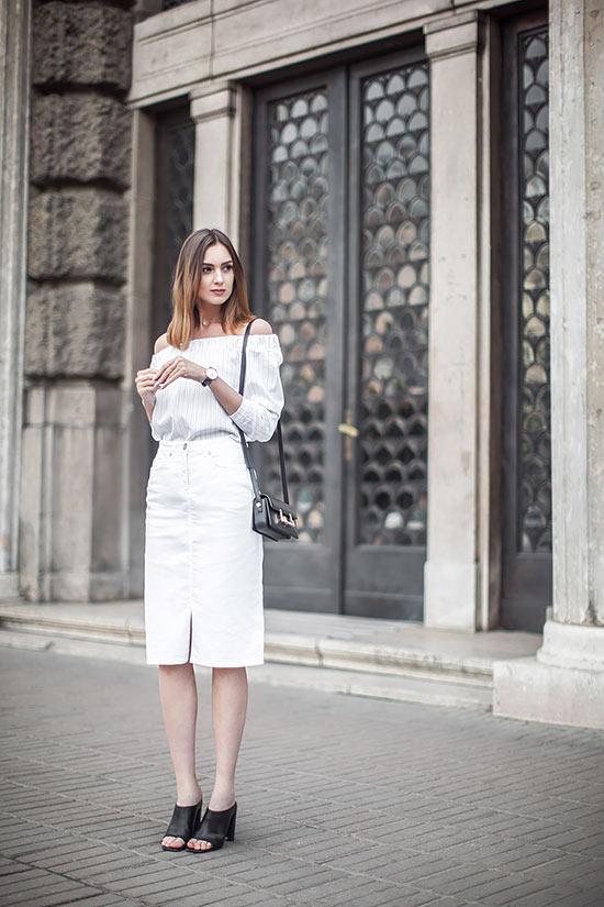 белая джинсовая юбка карандаш