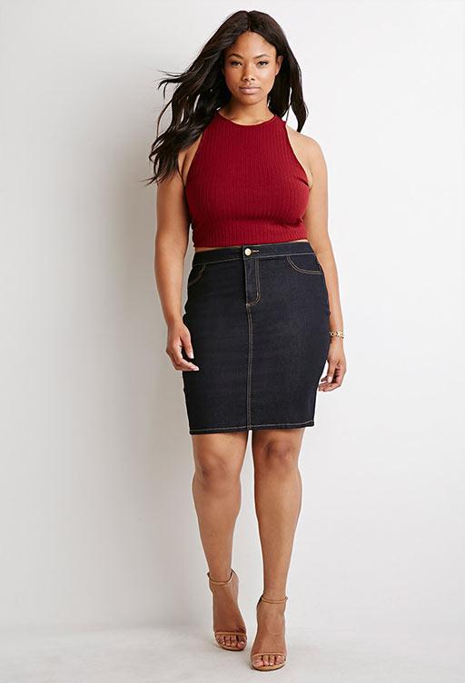 джинсовая юбка карандаш для полных