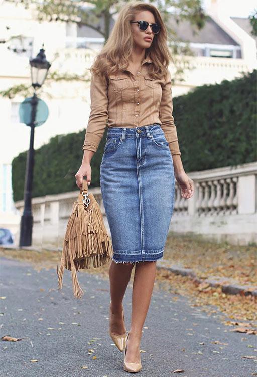 модели джинсовых юбок карандаш с узкими клиньями