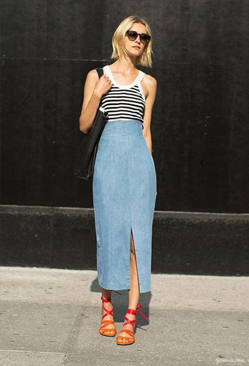 длинная джинсовая юбка карандаш с завышенной талией