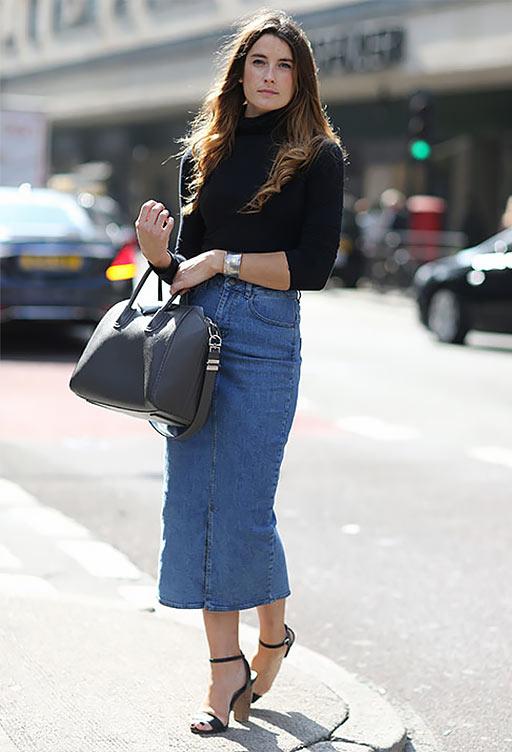джинсовая юбка карандаш с водолазкой
