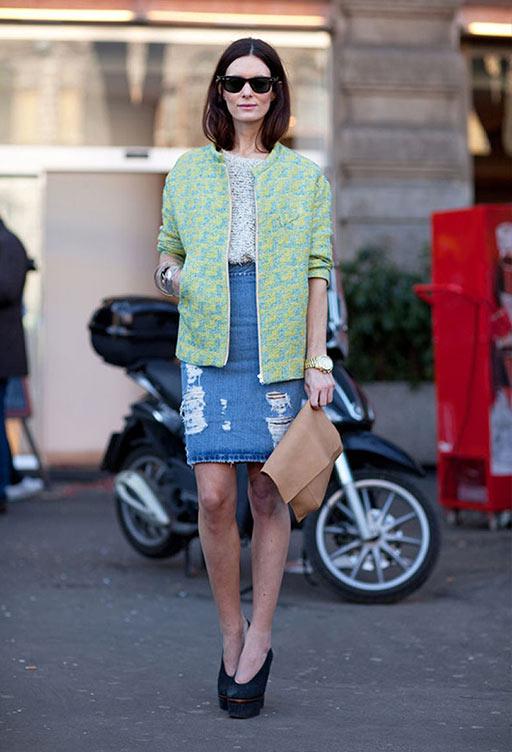 джинсовая юбка карандаш с жакетом