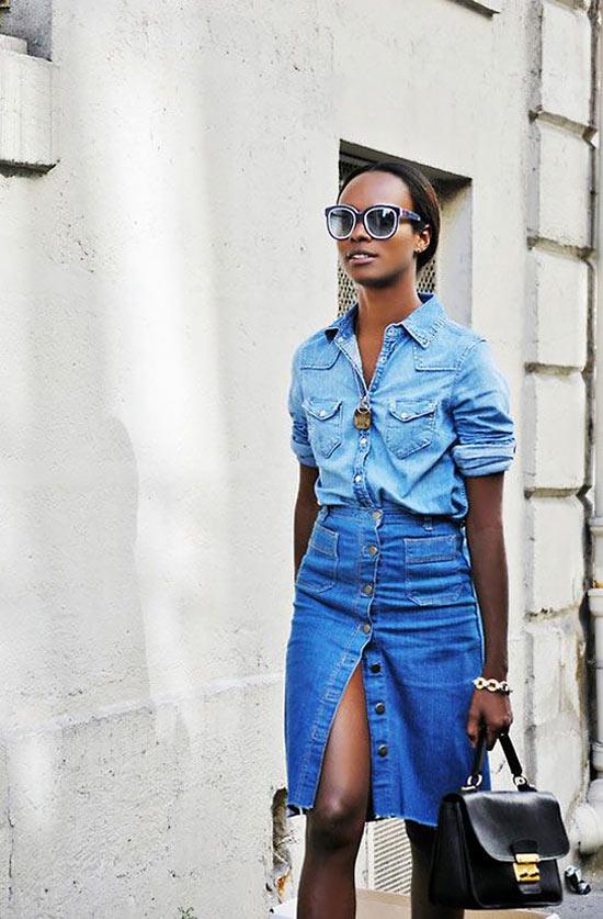 джинсовая юбка карандаш на пуговицах