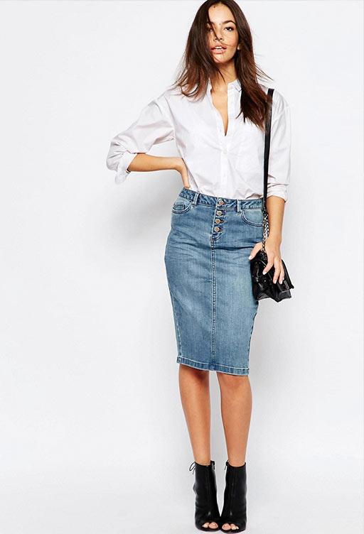 джинсовая юбка карандаш миди с белой блузкой