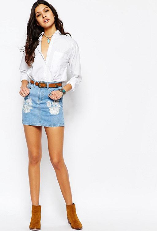 короткая юбка карандаш с белой рубашкой