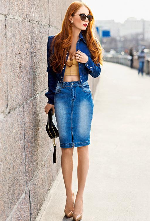джинсовая юбка карандаш с джинсовой курткой