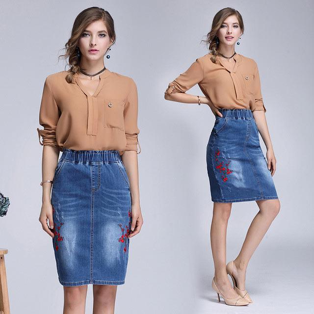 джинсовая юбка карандаш на резинке