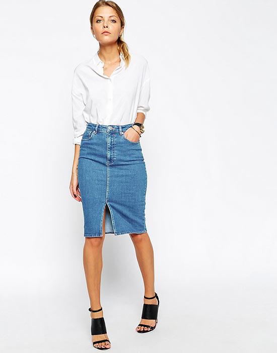 с чем носить джинсовую юбку карандаш весной, осенью, летом