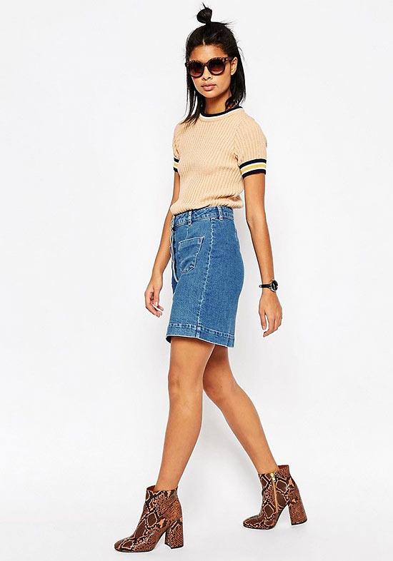 джинсовая юбка с ботильонами