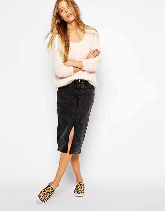 с чем носить черную джинсовую юбку карандаш
