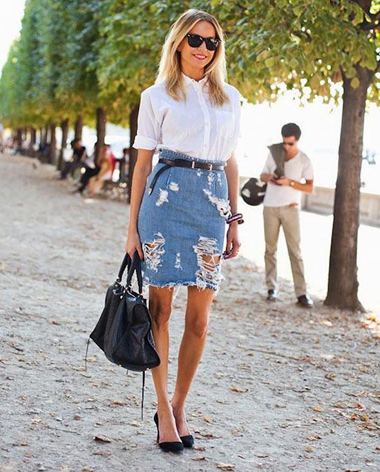 джинсовая юбка карандаш потертостями