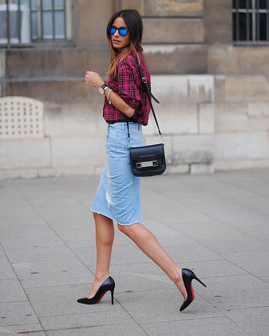 джинсовая юбка карандаш с клетчатой рубашкой