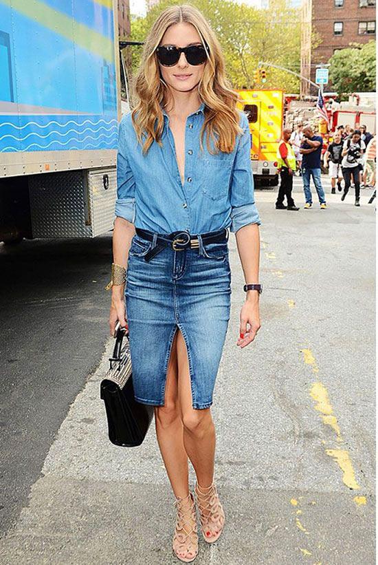 оливия палермо в джинсовой рубашке и юбке