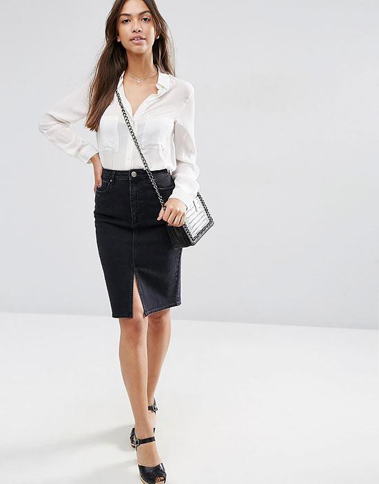 черная джинсовая юбка карандаш с белой блузкой