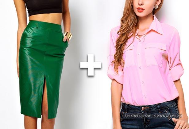 с розовой блузкой, рубашкой, футблокой