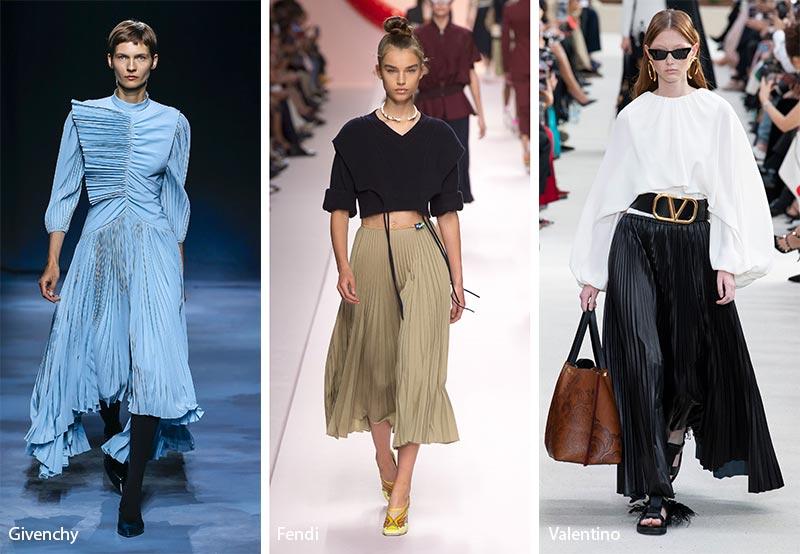 модные тенденции весна-лето 2019 Плиссированные платья и юбки