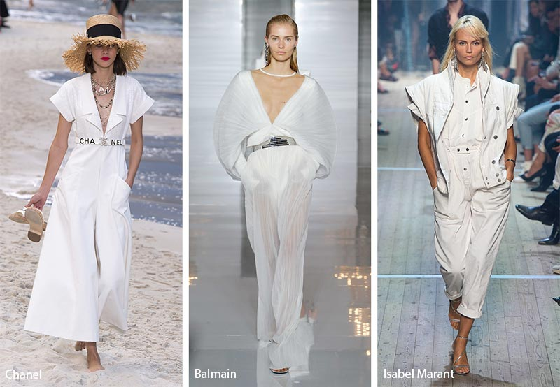 модные тенденции весна-лето 2019 Белые комбинезоны